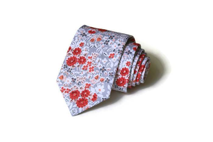Coral, Blush & Gray Floral Necktie - Youth