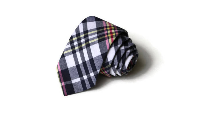 Navy & Pink Madras Plaid Necktie - Youth