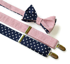 American Flag Seersucker Suspender & Bow Tie Set - Mens