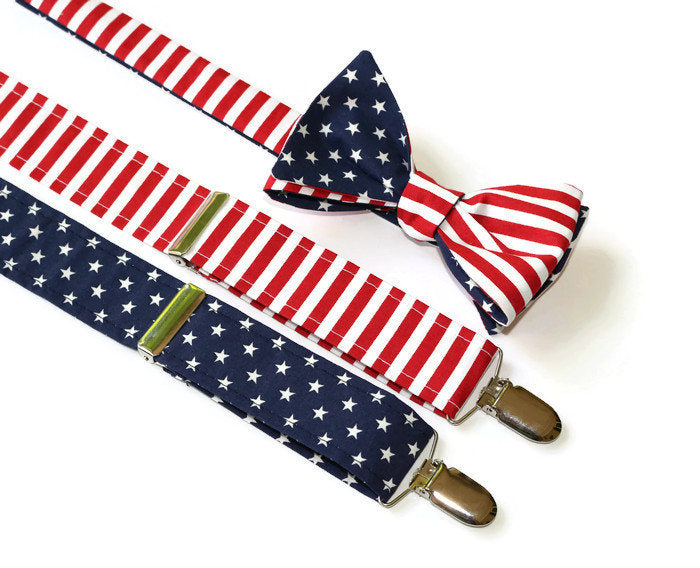 American Flag Suspender & Bow Tie Set - Mens