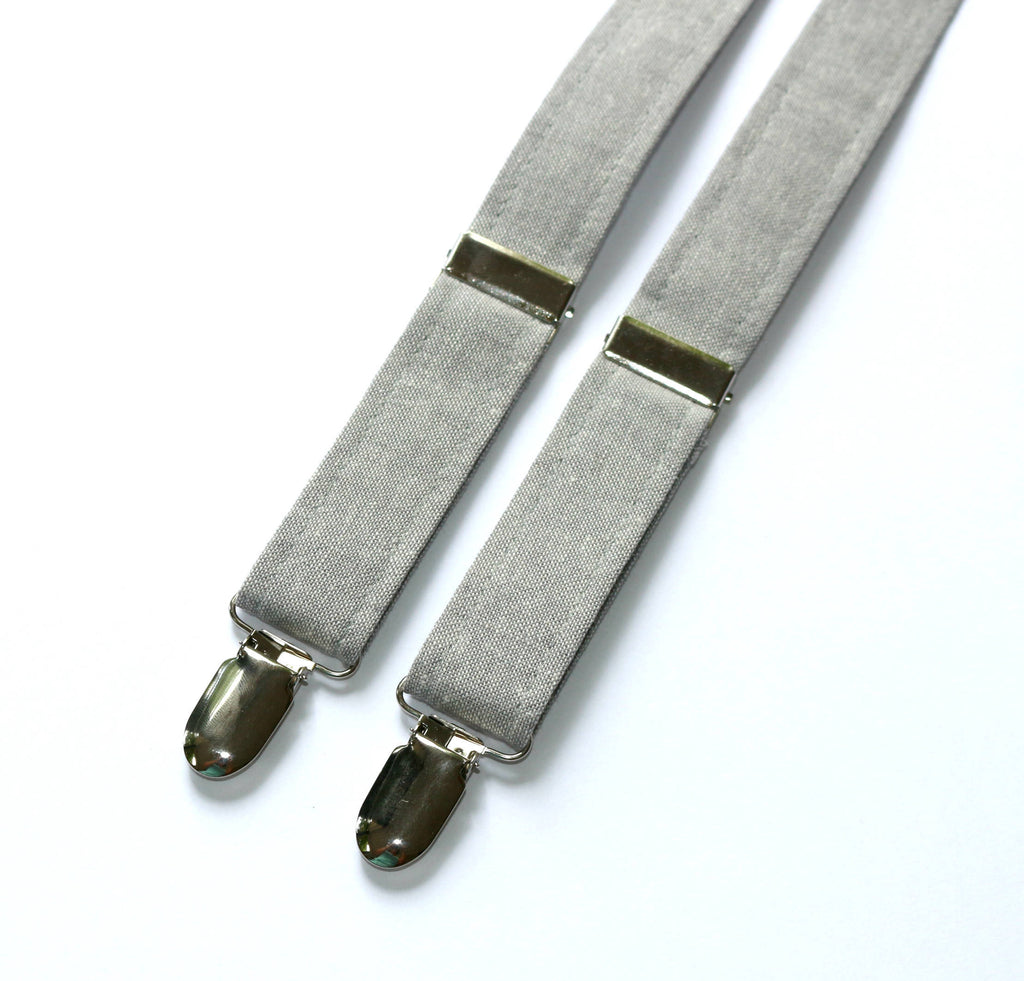 Light Gray Linen Suspenders - Boys