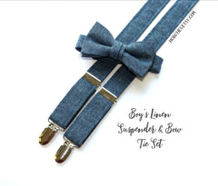 Nautical Linen Suspenders - Boys