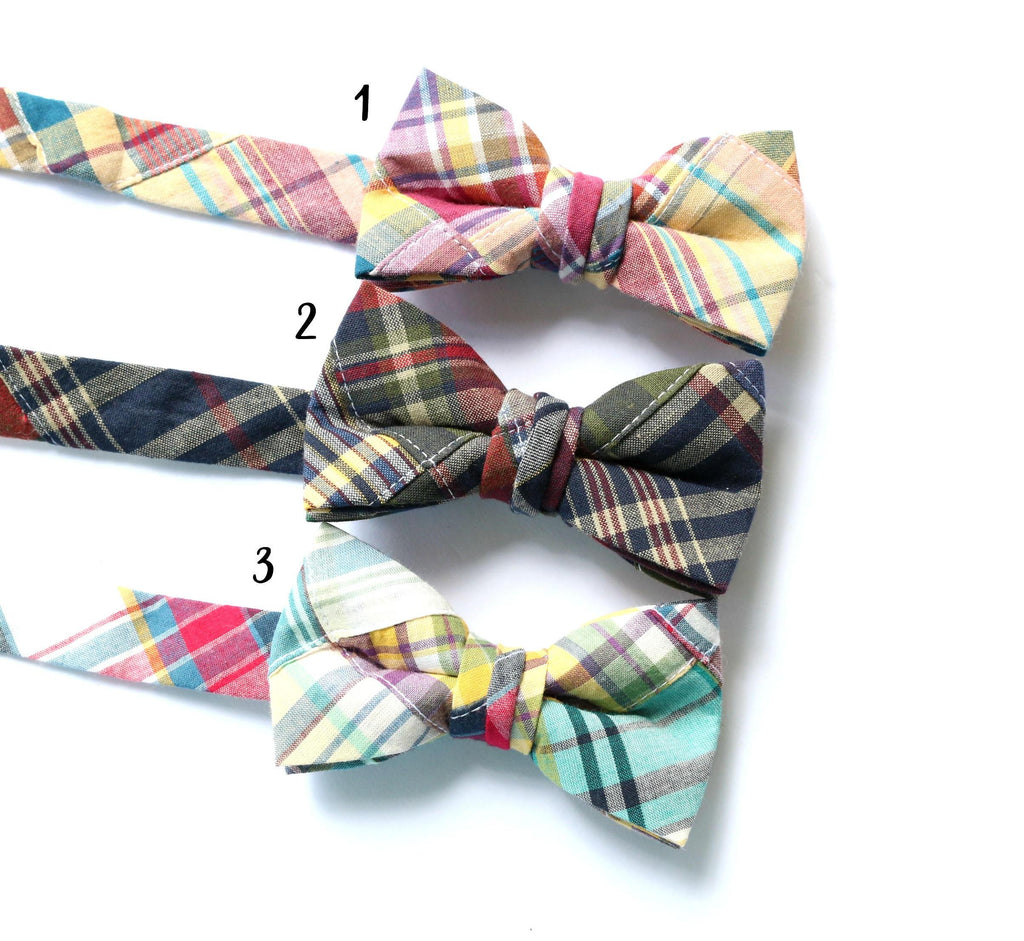 Madras Patchwork Plaid Bow Ties - Boys