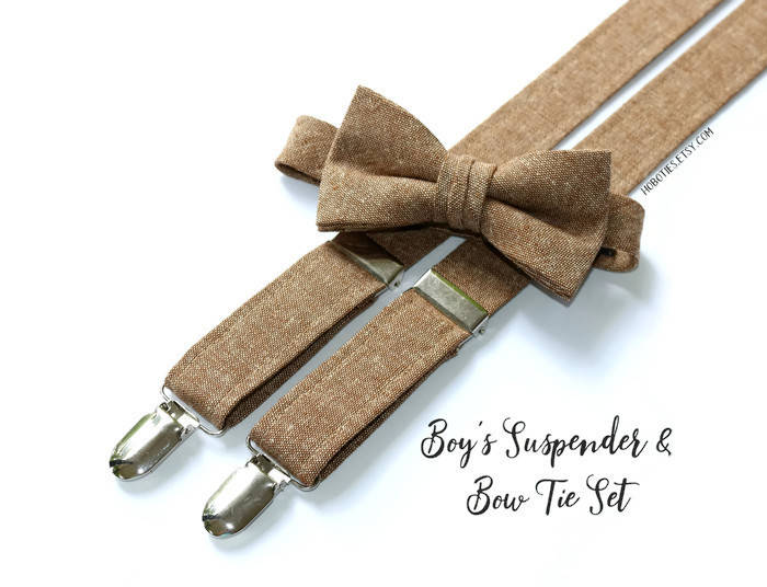 Brown Linen Suspenders - Boys