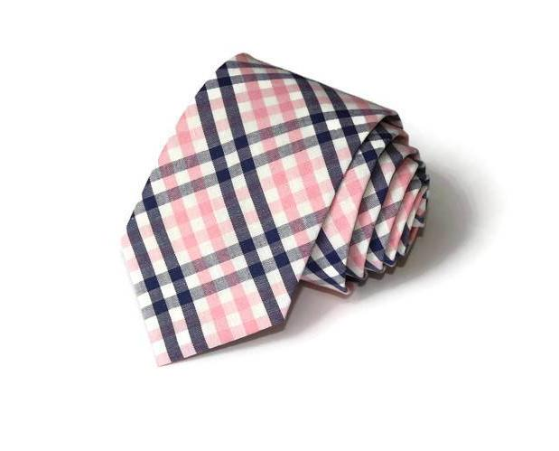 Pink and Navy Tattersall Necktie - Youth