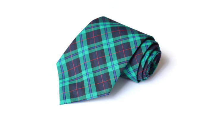 Navy & Green Tartan Plaid Necktie