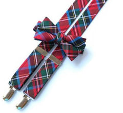 Red / Green Tartan Suspenders - Boys