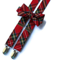 Red Stewart Tartan Suspenders - Boys