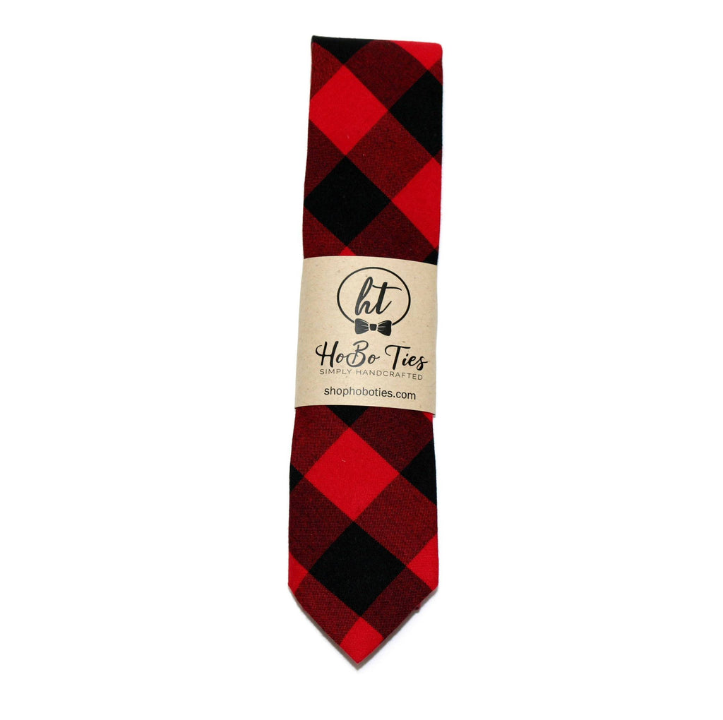 Red & Black Buffalo Plaid Necktie - Youth