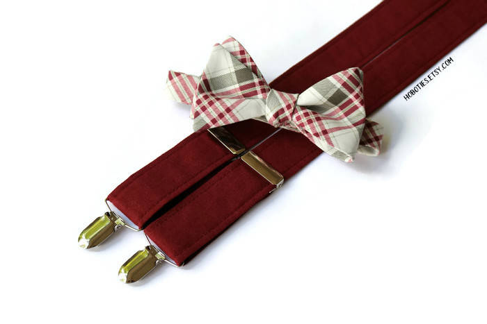 Burgundy Linen Suspenders - Mens