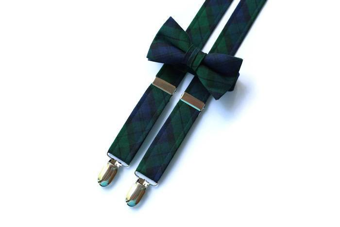 black watch tartan plaid suspenders, boys suspenders, matching bow tie