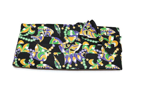 mardi gras cummerbund and bow tie set, maks, beads, crowns, mardi gras formal