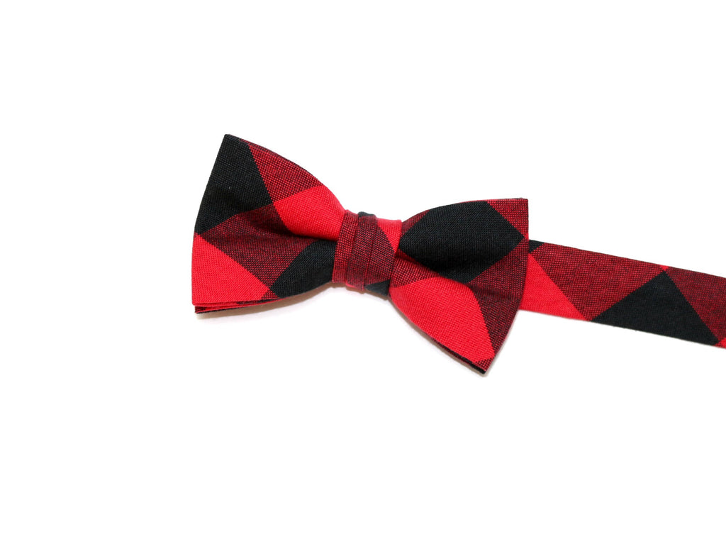 Red & Black Buffalo Plaid Bow Tie - Boys