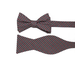 Burgundy & Gray Houndstooth Bow Tie