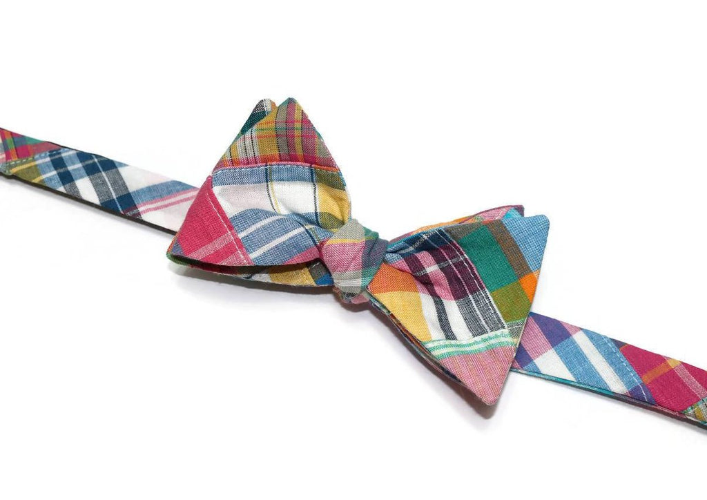Summer Madras Patchwork Plaid Bow Tie