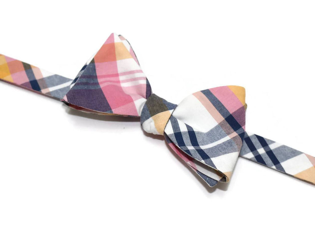 Pink & Navy Newport Plaid Bow Tie