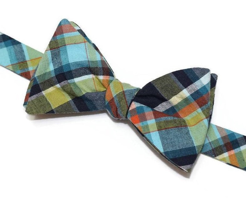 Navy & Lime Green Madras Plaid Bow Tie