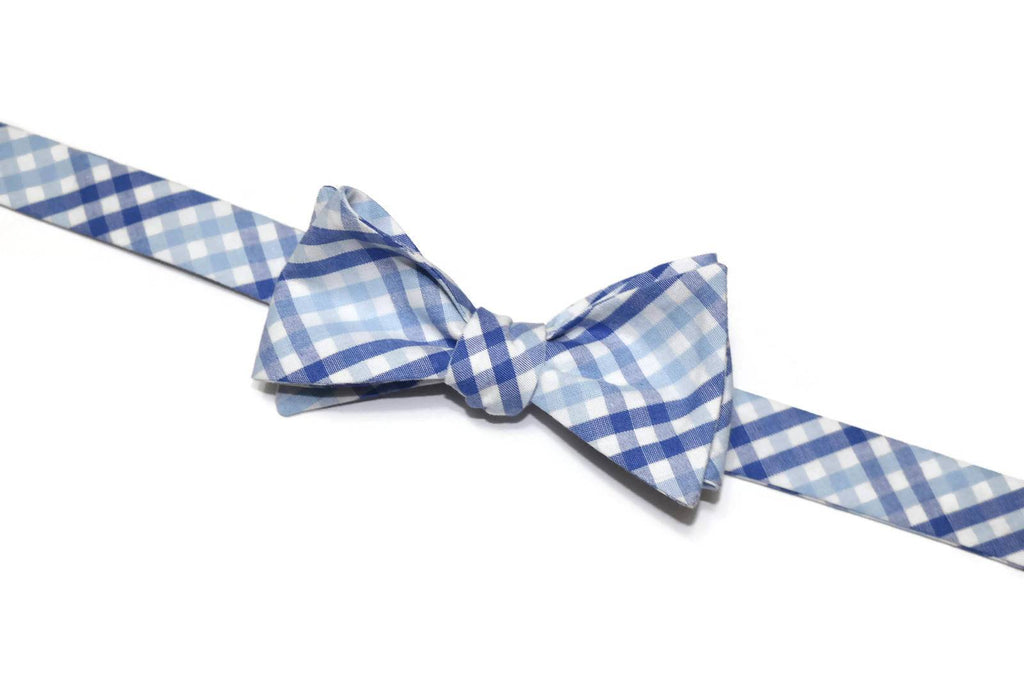 Blue Tattersall Bow Tie - Boys (Self Tie)