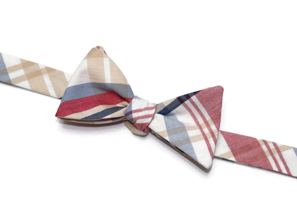 Red & Tan Newport Plaid Bow Tie - Boys (Self Tie)