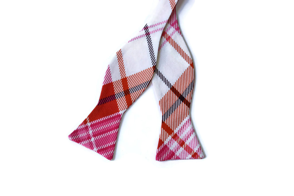 Pink Plaid Bow Tie - Boys (Self Tie)