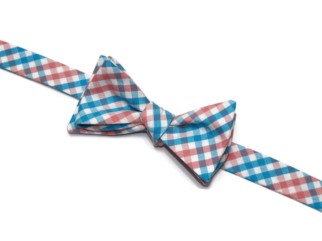 Coral & Turquoise Tattersall Bow Tie - Boys (Self Tie)
