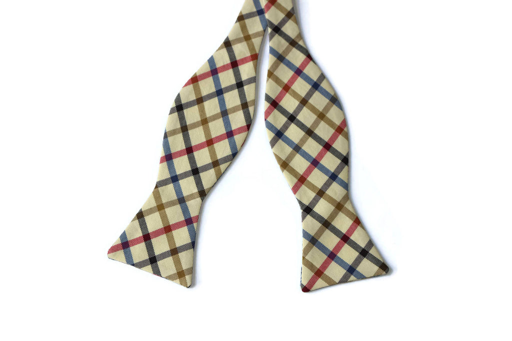 Navy, Red & Tan Window Pane Bow Tie - Boys (Self Tie)