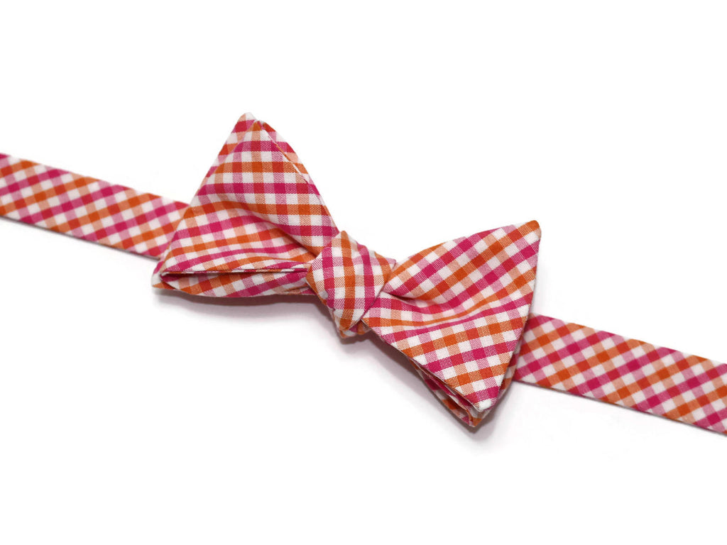 Orange & Pink Tattersall Bow Tie - Boys (Self Tie)