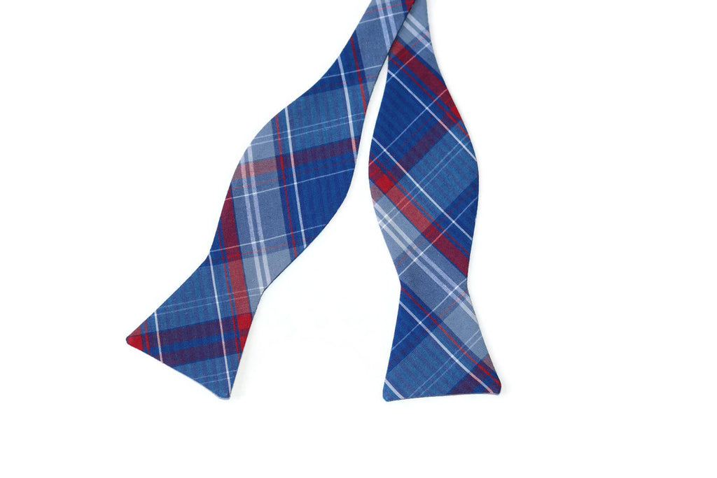 Nautical Blue Newport Plaid Bow Tie - Boys (Self Tie)