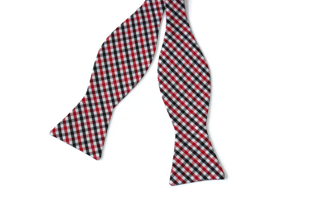 Red & Black Tattersall Bow Tie - Boys (Self Tie)