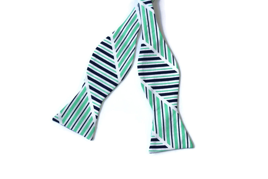 Navy & Green Stripe Bow Tie - Boys (Self Tie)