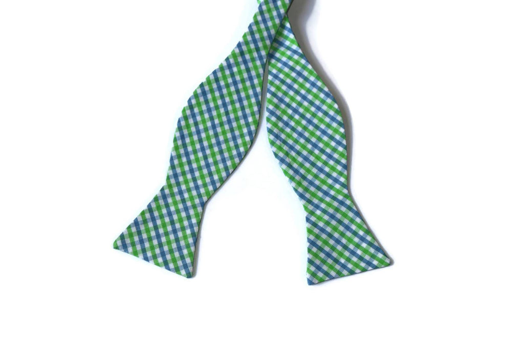 Cornflower & Lime Tattersall Bow Tie - Boys (Self Tie)