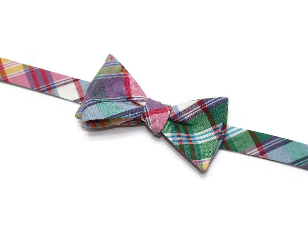 Green & Purple Madras Plaid Bow Tie - Boys (Self Tie)