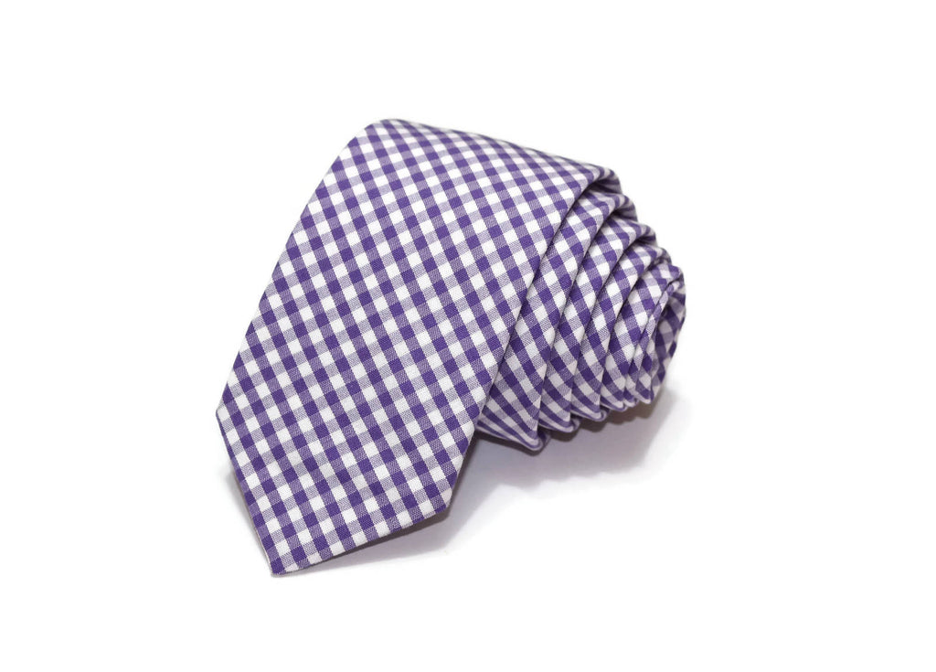 Grape Gingham Check Necktie