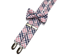 Pink & Navy Tattersall Suspenders - Boys