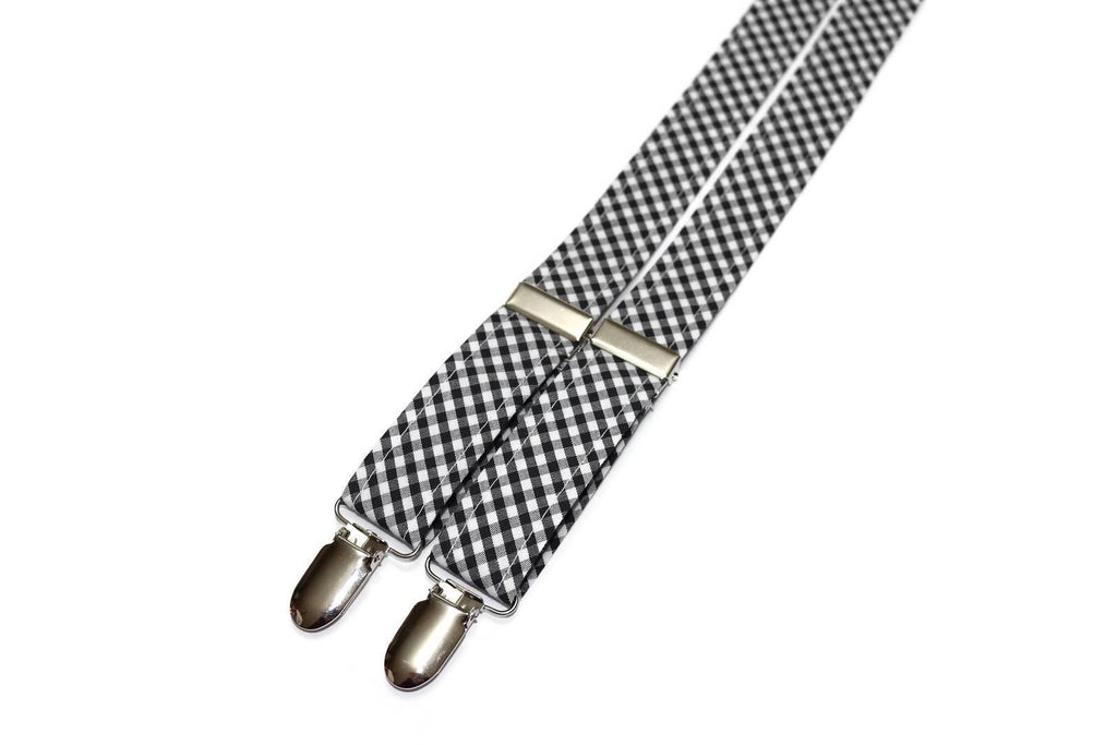 Black Gingham Check Suspenders - Boys