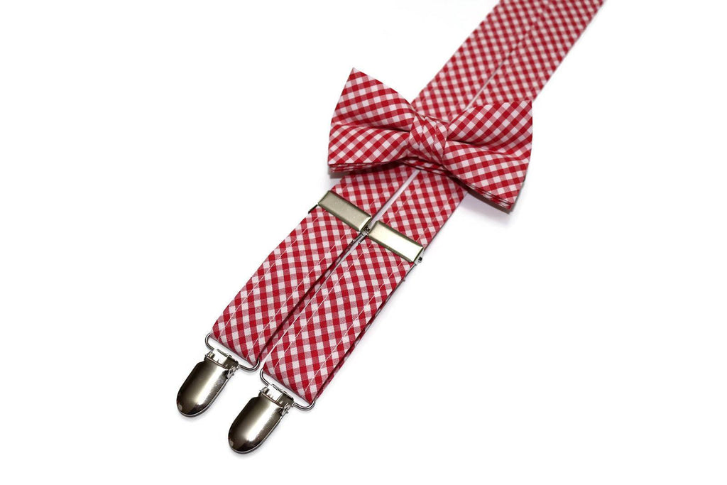 Berry Red Gingham Check Suspenders - Boys