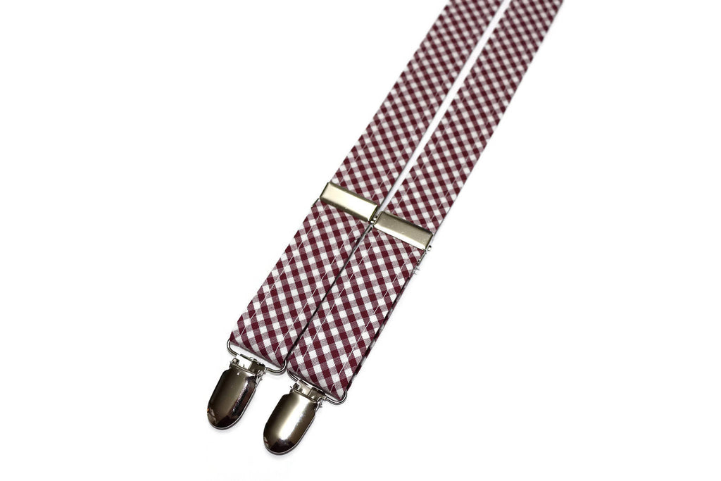 Burgundy Gingham Check Suspenders - Boys