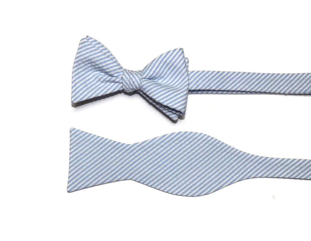 Light Blue Seersucker Cummerbund & Bow Tie
