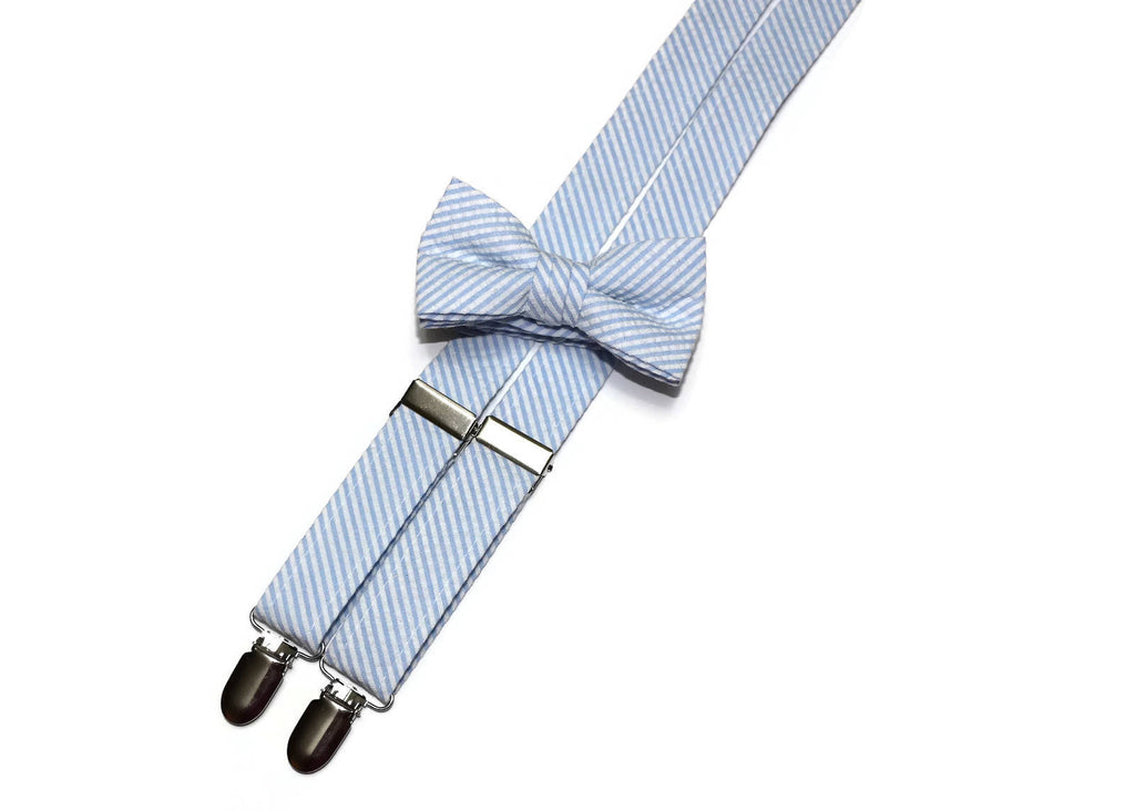 Light Blue Seersucker Suspenders - Boys