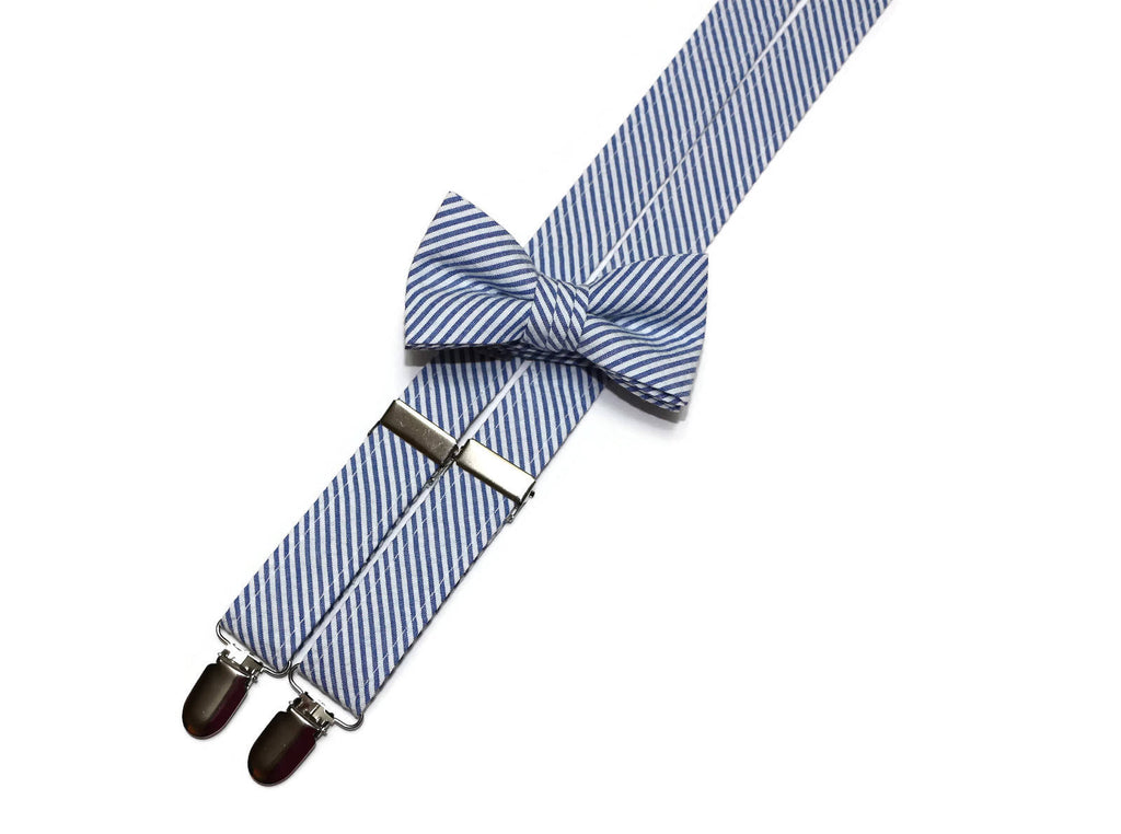 Royal Blue Seersucker Suspenders - Boys