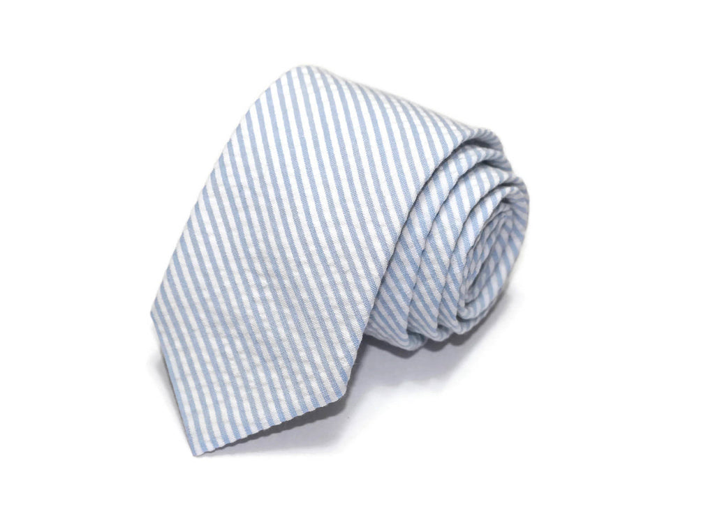 Light Blue Seersucker Necktie - Youth