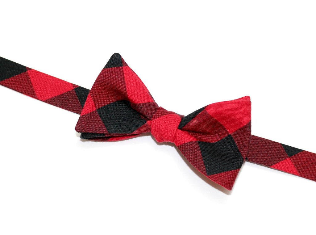 Red & Black Buffalo Plaid Bow Tie