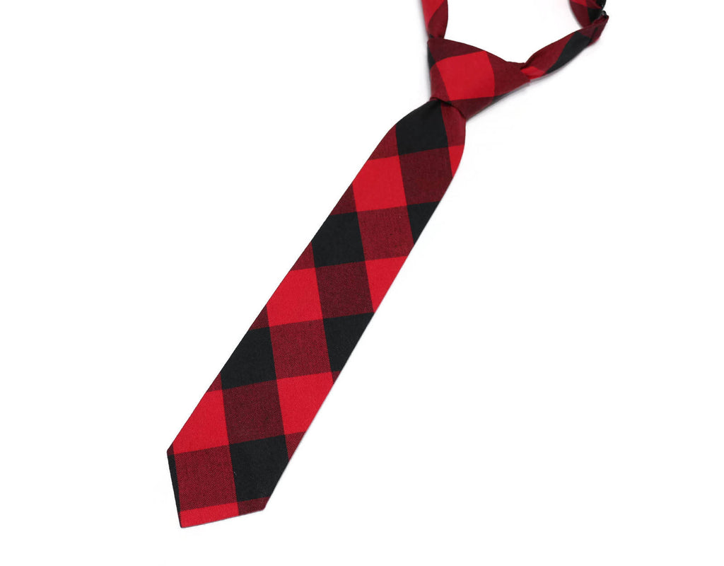 Red & Black Buffalo Plaid Necktie - Boys Pre-Tied