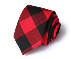 Red & Black Buffalo Plaid Necktie
