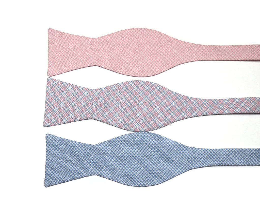 Blue & Pink Plaid Bow Ties