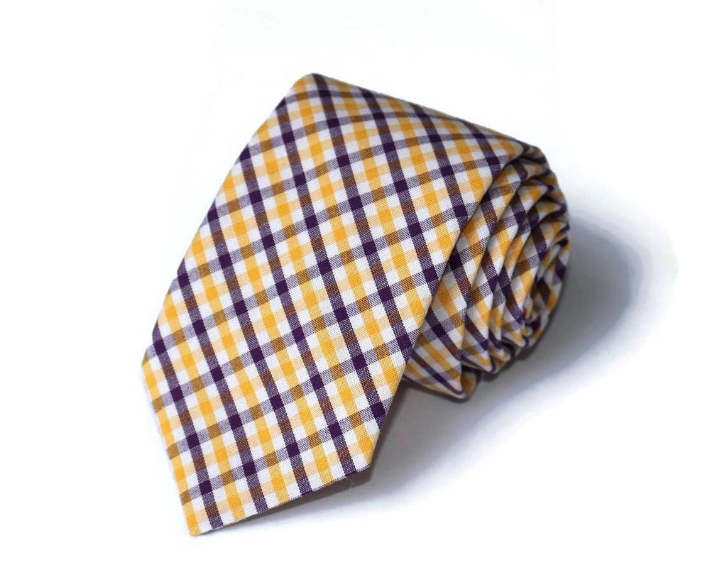 Gold & Purple Tattersall Necktie - Youth