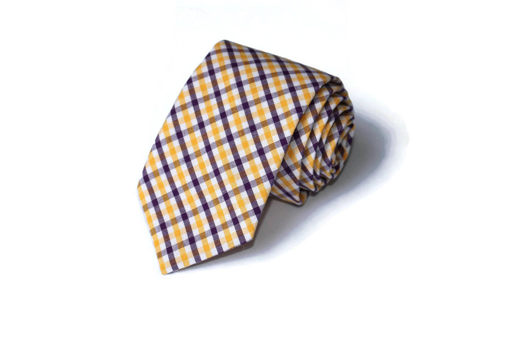 Gold & Purple Tattersall Necktie