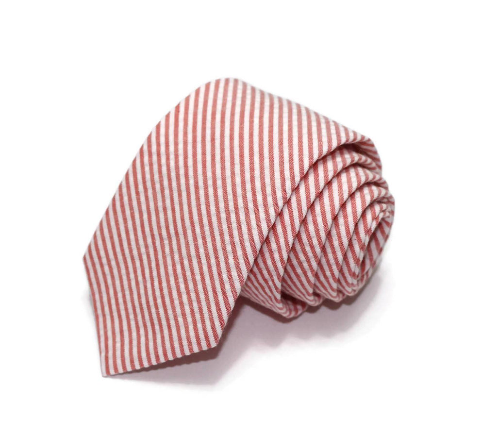 Coral Seersucker Necktie - Youth