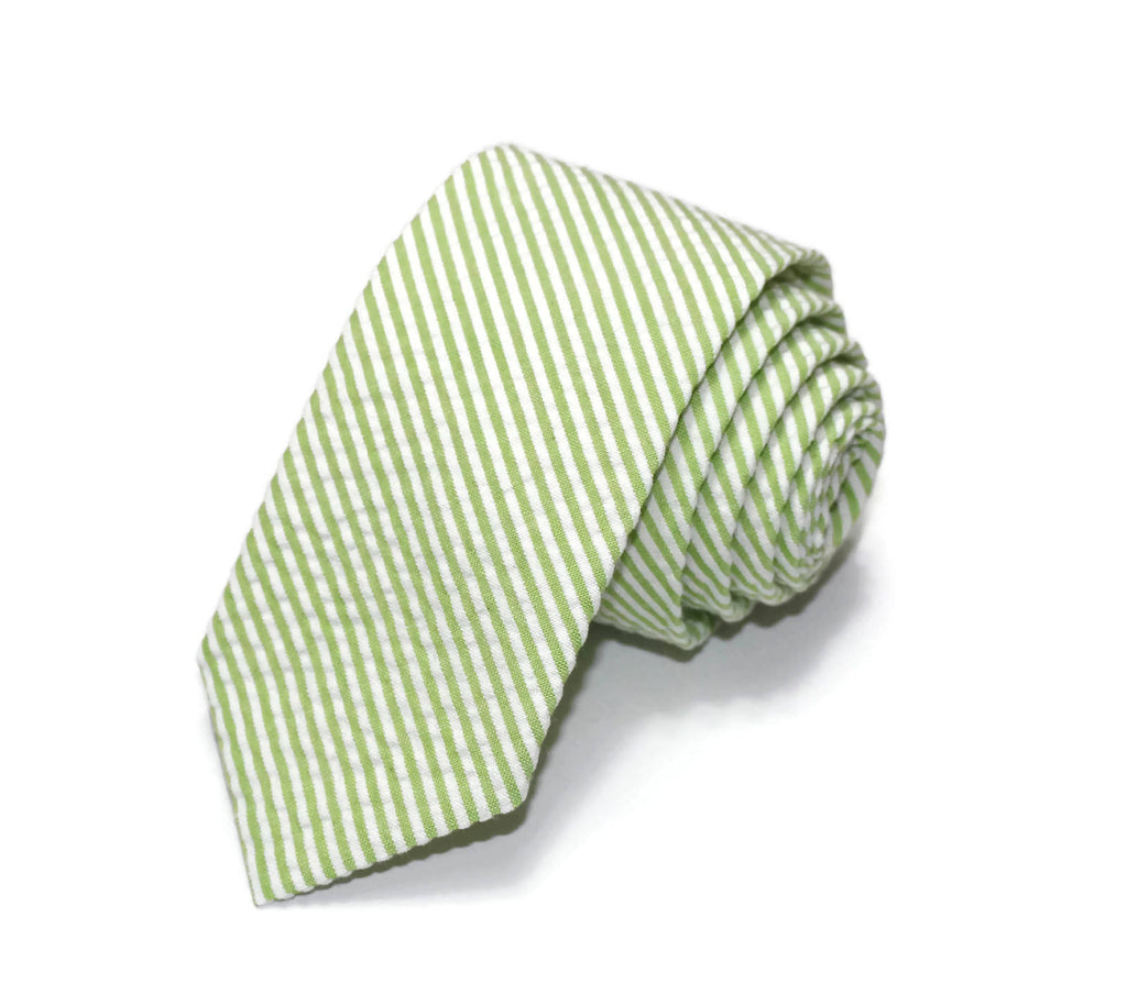 Lime Green Seersucker Necktie - Youth