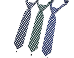 Gingham Check Necktie - Boys Pre-Tied